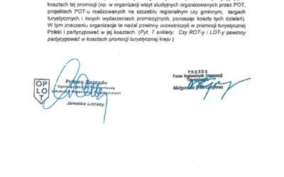 Wspólne stanowisko OPLOT i FROT w sprawie systemu promocji turystyki w Polsce